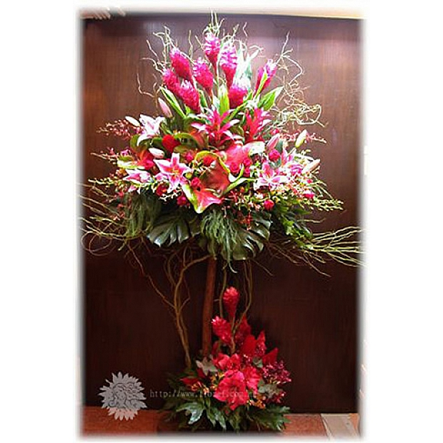 OP23 2 Levels Flower Arrangement with Wooden Stand -Flora F