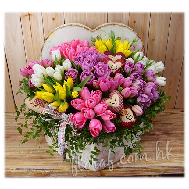 Heart-Shaped Flower Box : R10 99Mix Tulips in Heart Shaped Box